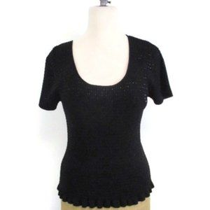 Michael Kors Black Sequin Scoop neck Sweater Med